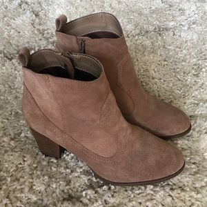Restricted Taupe Suede Heeled Cowboy Booties 8.5